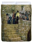 The Evil Counsel Of Caiaphas Duvet Cover by Tissot