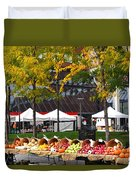 The Fall Harvest Is In Kendall Square Farmers Market Foliage Duvet Cover