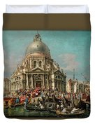 The Feast Of The Madonna Della Salute In Venice Duvet Cover