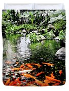 The Fish Pond At Thailand Duvet Cover