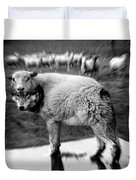 The Flock Is Safe Grayscale Duvet Cover