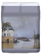 The Flood At Port Marly Duvet Cover by Alfred Sisley