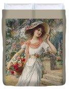 The Flower Girl Duvet Cover by Emile Vernon