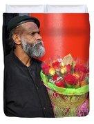 The Flower Vendor - Man Selling Roses Duvet Cover