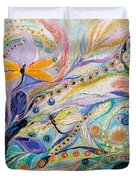The Flowers And Dragonflies Duvet Cover
