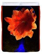 The Flower Of Cactus In A Blue Vase. Duvet Cover