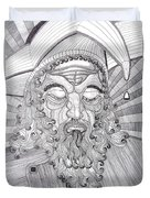 The Fool The King Original Black And White Pen Art By Rune Larsen Duvet Cover