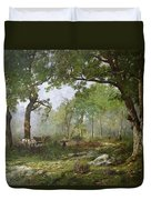 The Forest Of Fontainebleau Duvet Cover by Leon Richet