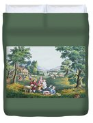 The Four Seasons Of Life Childhood Duvet Cover by Currier and Ives