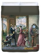 The Four Seasons Of Life  Middle Age Duvet Cover by Currier and Ives