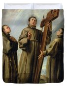 The Franciscan Martyrs In Japan Duvet Cover by Don Juan Carreno de Miranda