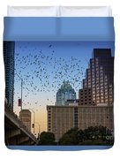 The Frost Bank Tower Stands Guard As 1.5 Million Mexican Free-tail Bats Overtake The Austin Skyline As They Exit The Congress Avenue Bridge Duvet Cover