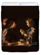 The Gamblers Duvet Cover by Michelangelo Caravaggio