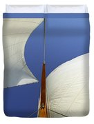 The Genoa And Mainsail Of A Classic Sailboat Duvet Cover