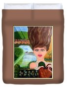 The Girl With A Wooden Hair Duvet Cover