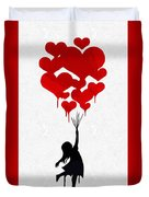 The Girl With The Red Balloons Duvet Cover