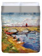 The Gleize Bridge Over The Vigneyret Canal  Duvet Cover