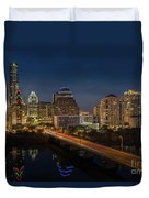 The Glimmering Neon Lights Of The Downtown Austin Skyscrapers Illuminate The Skyline Over Lady Bird Lake Duvet Cover