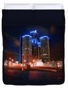 The Gm Renaissance Center At Night From Hart Plaza Detroit Michigan Duvet Cover