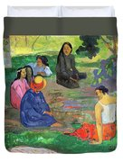 The Gossipers Duvet Cover by Paul Gauguin