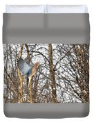 The Graceful Mourning Dove In-flight Duvet Cover