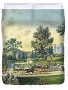 The Grand Drive, Central Park, New York, 1869 Duvet Cover