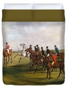 The Grand Leicestershire Steeplechase, March 12, 1829  The Start Duvet Cover