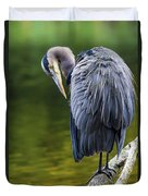 The Great Blue Heron Perched On A Tree Branch Preening Duvet Cover