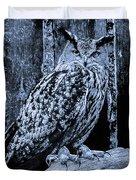 Majestic Great Horned Owl Bw Duvet Cover