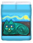 The Green Cat Duvet Cover