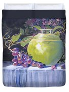 The Green Pot And Grapes Duvet Cover