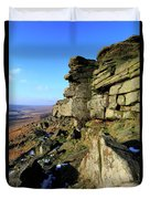 The Gritstone Rock Formations On Stanage Edge Duvet Cover