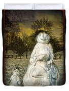 The Grunge Snowperson And Small Goth Friend Duvet Cover