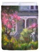 The Guardian - Plein Air Lilac Garden Duvet Cover by Talya Johnson