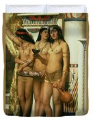 The Handmaidens Of Pharaoh Duvet Cover by John Collier