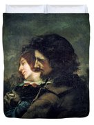 The Happy Lovers Duvet Cover by Gustave Courbet