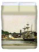 The Harbour At Honfleur Duvet Cover by Karl Pierre Daubigny