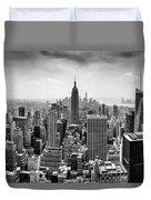 New York City Skyline Bw Duvet Cover