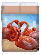 The Heart Of The Flamingos Duvet Cover