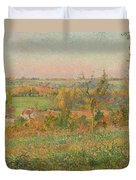 The Hills Of Thierceville Seen From The Country Lane Duvet Cover