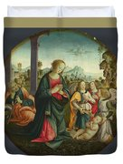 The Holy Family With Angels Duvet Cover