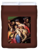 The Holy Family With St Catherine Of Alexandria, St Margaret Of Antioch And St Francis Of Assisi  Duvet Cover
