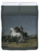 The Horse Thieves Duvet Cover by Ferdinand Victor Eugene Delacroix