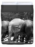 The Horses Of Mackinac Island Michigan 03 Bw Duvet Cover