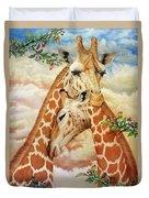 The Hug - Giraffes Duvet Cover