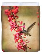 The Hummingbird And The Spring Flowers  Duvet Cover