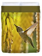 The Hummingbird And The Yellow Aloe  Duvet Cover