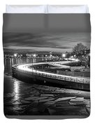 The Icy Charles River At Night Boston Ma Cambridge Black And White Duvet Cover