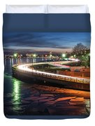 The Icy Charles River At Night Boston Ma Cambridge Duvet Cover