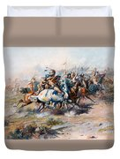The Indian Encirclement Of General Custer At The Battle Of The Little Big Horn Duvet Cover